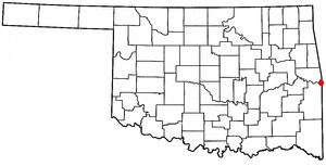 Arkoma, Oklahoma - Image: OK Map doton Arkoma