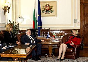 Tsetska Tsacheva - Image: O Υπουργός Εξωτερικών Νίκος Κοτζιάς με την Πρόεδρο του Κοινοβουλίου της Βουλγαρίας, Tsetska Tsachevaον, Σόφια, 18.6.2015 (18737445730)