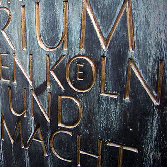 Ö - Unusual form of the OE or Ö ligature, with a small E inside the O. From an inscription in the crypt of Cologne (''Koeln'') Cathedral.