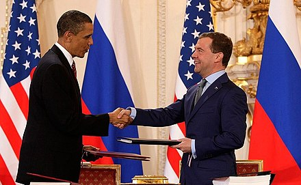 Dmitry Medvedev with Barack Obama after signing the New START treaty in Prague, 2010 Obama and Medvedev sign Prague Treaty 2010.jpeg
