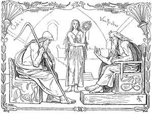 Vafþrúðnismál - Odin and Vafþrúðnir battle in a game of knowledge (1895) by Lorenz Frølich.