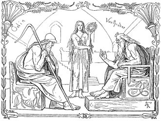 Vafþrúðnismál - Odin and Vafþrúðnir battle in a game of knowledge (1895) by Lorenz Frølich.