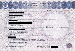 Zaproszenie Dla Cudzoziemca Wikipedia Wolna Encyklopedia