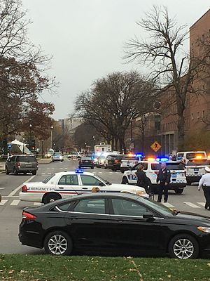 Ohio State University attack - Police presence on the OSU campus, view from Curl Market