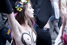 Oksana Shachko, during a Femen protest in Pari.jpg