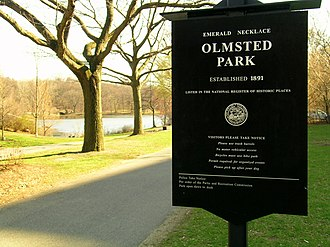 Emerald Necklace - Image: Olmsted Park Sign