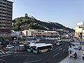 Onomichi Station and Onomichi Castle from footbridge of Onomichi Port Terminal.jpg