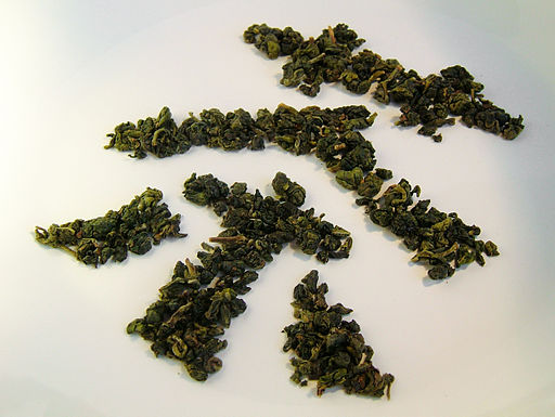 Oolong tea leaves - character for tea in Chinese