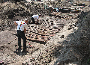 Corduroy road - Excavation of a corduroy road from the 16th century in Oranienburg, Germany