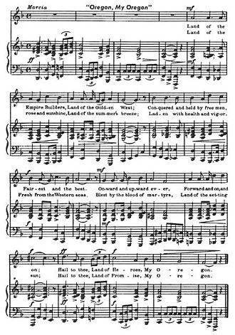 "Sheet music - The sheet music for the song ""Oregon, My Oregon""."