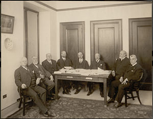 George Gustav Heye - The Board of Trustees of the Heye Foundation in 1920; left to right: Minor Cooper Keith, James Bishop Ford, George Gustav Heye, Frederick Kimber Seward, F. Kingsbury Curtis, Samuel Riber, Jr., Archer Milton Huntington, and Harmon Washington Hendricks