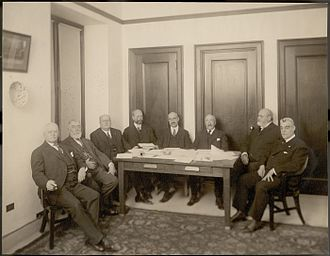 Minor Cooper Keith - Board of Trustees of the Heye Foundation, 1920.  From left to right: Minor C. Keith, James Bishop Ford, George Gustav Heye, Frederick Kimber Seward, Frederick Kingsbury Curtis, Samuel Riber, Jr., Archer Milton Huntington, and Harmon Washington Hendricks