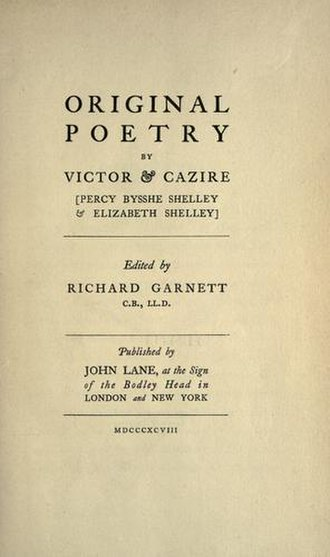 Original Poetry by Victor and Cazire - 1898 reprint title page, John Lane, London and New York