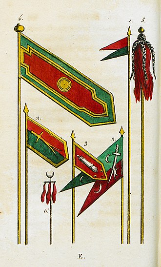 Flags of the Ottoman Empire - Image: Ottoman emblems and military flags Castellan Antoine laurent 1812