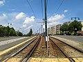 Outbound platform of Mount Hood Road station, August 2016.JPG