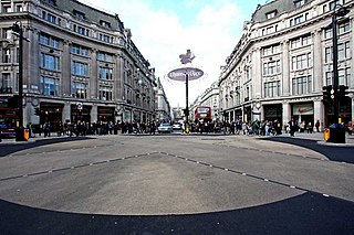 Oxford Circus Road junction in London, UK