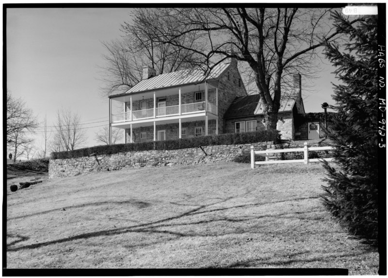File:PERSPECTIVE VIEW OF SOUTHEAST (FRONT) AND NORTHEAST STONE ADDITIONS - Stone House, Burnside Bridge Road, Sharpsburg, Washington County, MD HABS MD,22-SHARP.V,26-3.tif