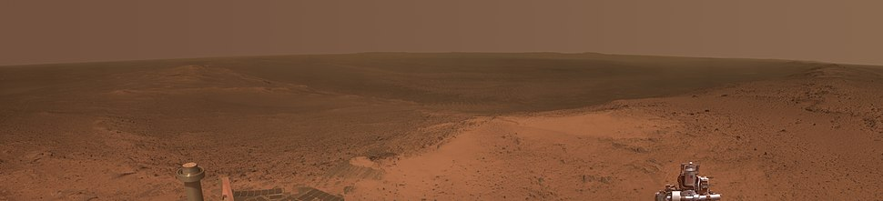 Opportunity's view from the top of Cape Tribulation on the rim of Endeavour Crater, January 22, 2015.