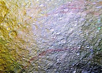 Tethys (moon) - Tethys - Red Arcs (11 April 2015)