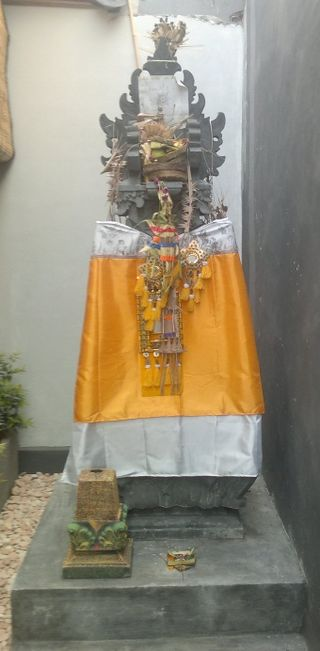 A Hindu shrine, or Padmasana outside a house in Bali