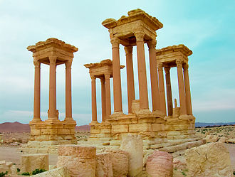 Tetrapylon - Perhaps the most striking construction at Palmyra in Syria, the Tetrapylon marked the second pivot in the route of the colonnaded street. It consisted of a square platform bearing at each corner a tight grouping of four columns. Each of the four groups of pillars supported 150,000kg of solid cornice. It was badly vandalized in 2017.
