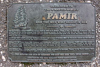 Pamir (ship) - Plaque commemorating the German 4 masted barque Pamir, installed on the waterfront, Wellington, New Zealand