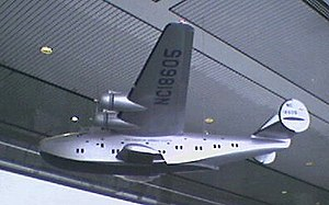 Model of a Pan Am flying boat in Concourse E