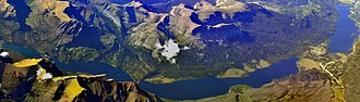 Saint Mary Lake - Image: Panoramic aerial view of Saint Mary Lake, Glacier National Park, Montana 01b