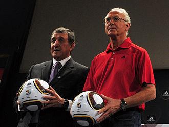 Adidas Jabulani - Carlos Alberto Parreira and Franz Beckenbauer presenting the 2010 FIFA World Cup semi-final match balls