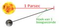 Parsec astronomische eenheid schematische voorstelling.png