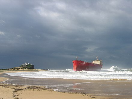 The MV Pasha Bulker briefly became a local landmark when it was stranded on Nobbys Beach in 2007 Pasha Bulker grounded.jpg