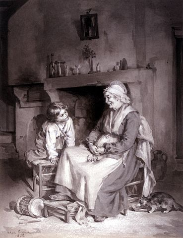 art of old woman and boy