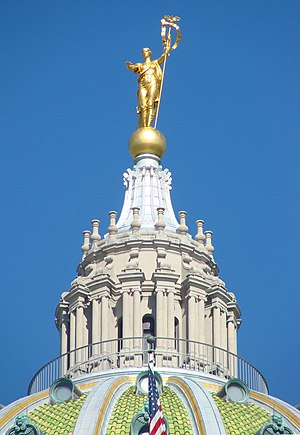 Pennsylvania State Capitol - The lantern of the dome, topped with the statue ''Commonwealth''.