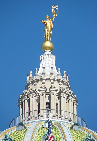 Pennsylvania State Capitol - The lantern of the dome, topped with the statue Commonwealth.