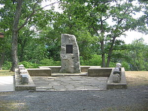 Hyner View State Park - Forest Fire Wardens Monument with stones for each of the twenty state forests at Hyner View.