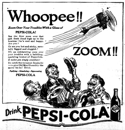 A 1919 newspaper ad for Pepsi-Cola Pepsi newspaper ad 1919.png