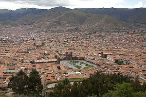 Muyu Urqu - A view of Cusco and the mountains southeast of it. Muyu Urqu is the lowest hill on the left.
