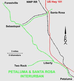 Petaluma and Santa Rosa Railroad - Image: Petaluma&Santa Rosa Railroad Map