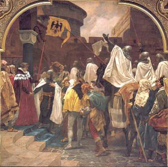 Konrad I of Masovia - Emperor Frederick II releases the Teutonic Knights on their way to Prussia, Peter Janssen, 1903
