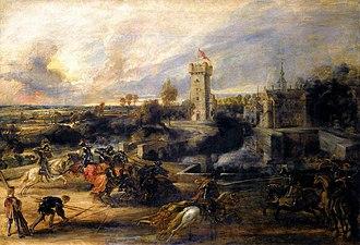Elewijt Castle - Image: Peter Paul Rubens Tournament in front of Castle Steen WGA20410