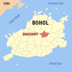 Map of Bohol with Dagohoy highlighted
