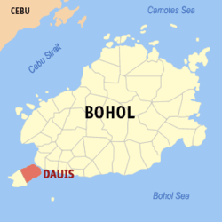 Map of Bohol with Dauis highlighted