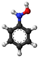 Ball-and-stick model of the phenylhydroxylamine molecule