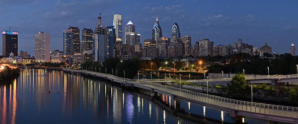 Philadelphia skyline, evening