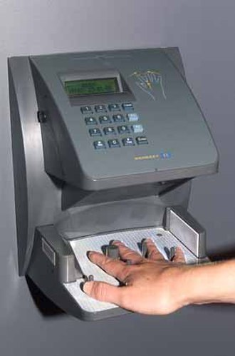 Access control - Physical security access control with a hand geometry scanner