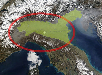 Po Valley - The Padan Plain in Northern Italy (green) and the Po river basin in the Plain (red circle)