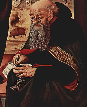 Pigs in popular culture - Painting of Saint Anthony with pig in background by Piero di Cosimo c. 1480