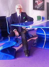 Pierre Cardin with the sculptures Cobra Table and Chair, 2012