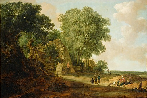 Pieter Molijn and Jan van Goyen 'Landscape with Cottage and Figures'