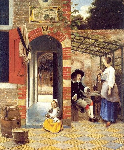 Drinkers in the Bower by Pieter de Hooch